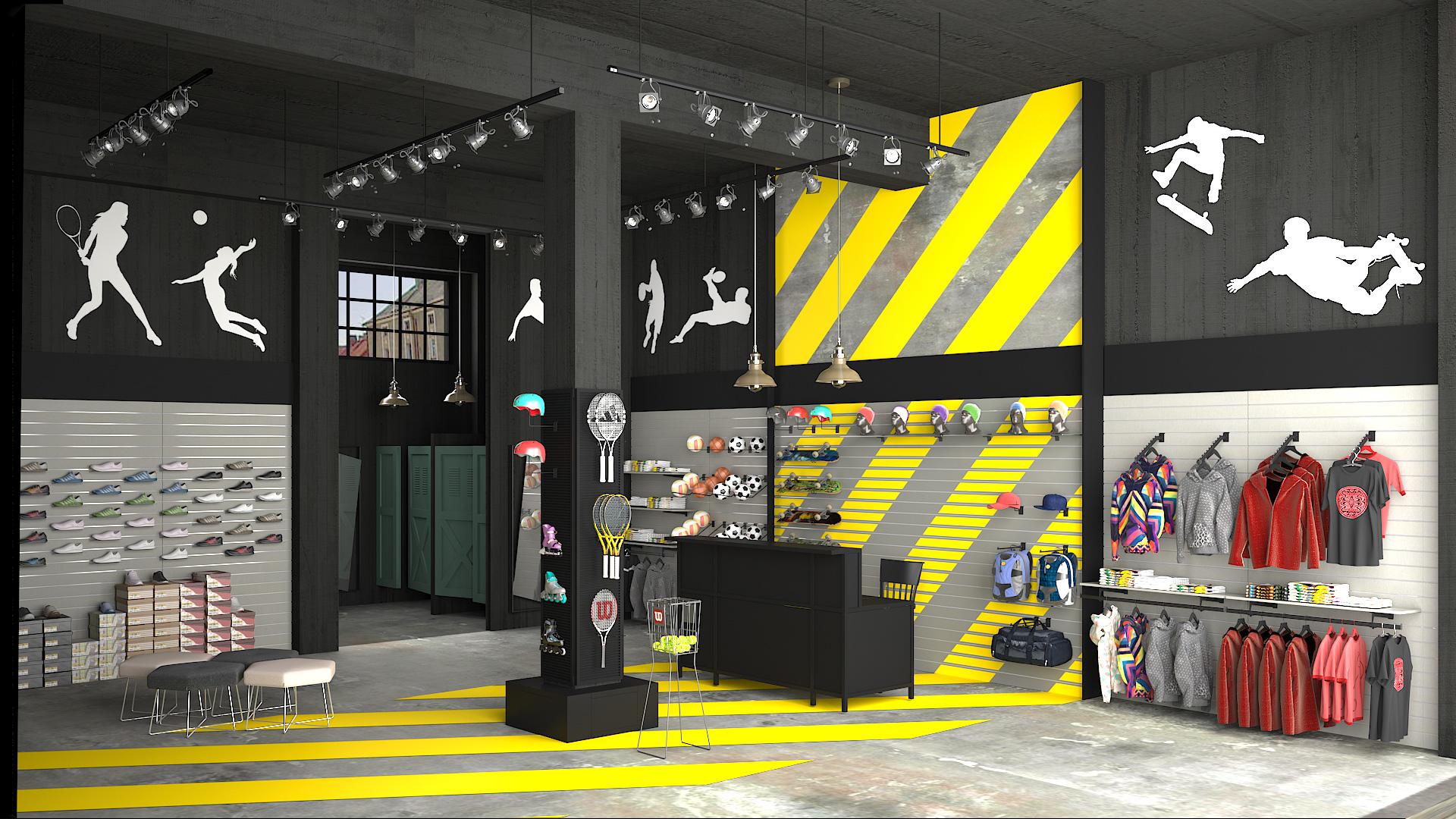 Έπιπλα για κατάστημα Ειδών Άθλησης –Sport. Σχεδιασμός  industrial design   με κύριο δομικό σύστημα προβολής   επένδυσης το  Slat πάνελ . 809c5623041